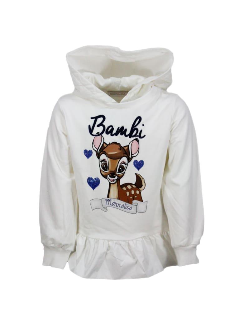 Monnalisa Long-sleeved Cotton Crewneck Sweatshirt With Nylon Hood And Bambi Print - White