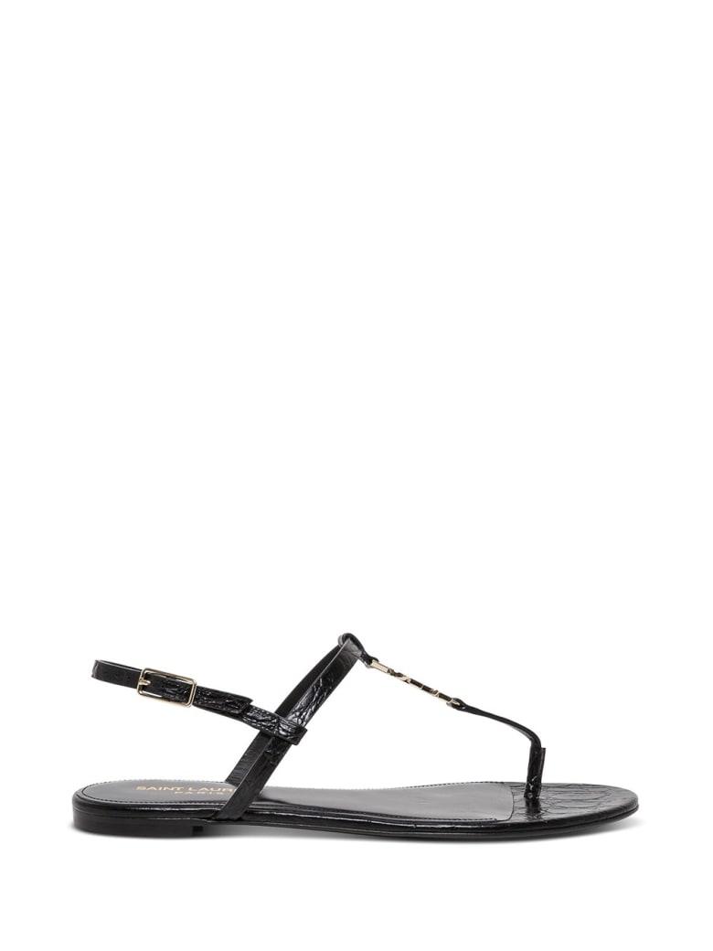 Saint Laurent Clessandra Sandals In Black Crocodile Printed Leather - Black