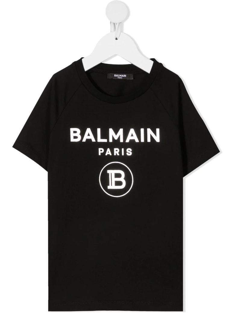 Balmain Unisex Kid Black And Sliver Logo T-shirt