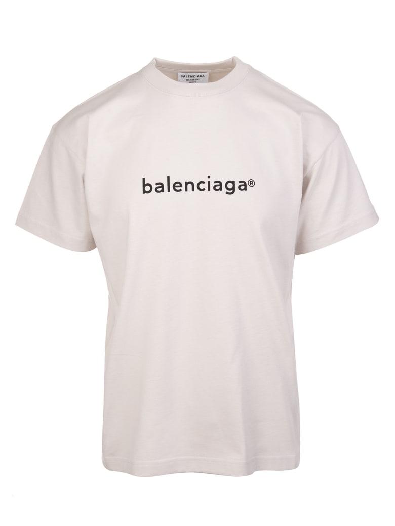 Balenciaga Woman Grey New Copyright T-shirt - Cement grey/black