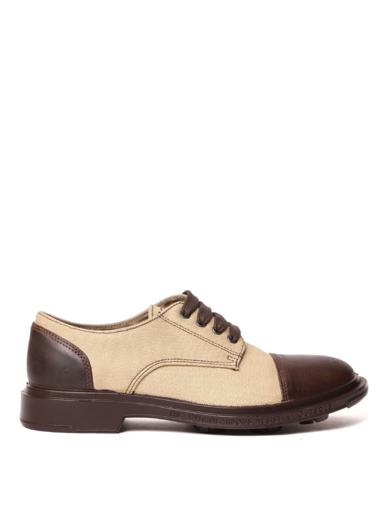 Pezzol 1951 Canvas & Leather Lace-up Shoes - Beige/brown