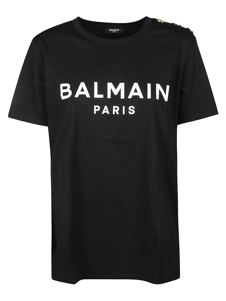 Balmain Button Embellished Logo T-shirt - Nero