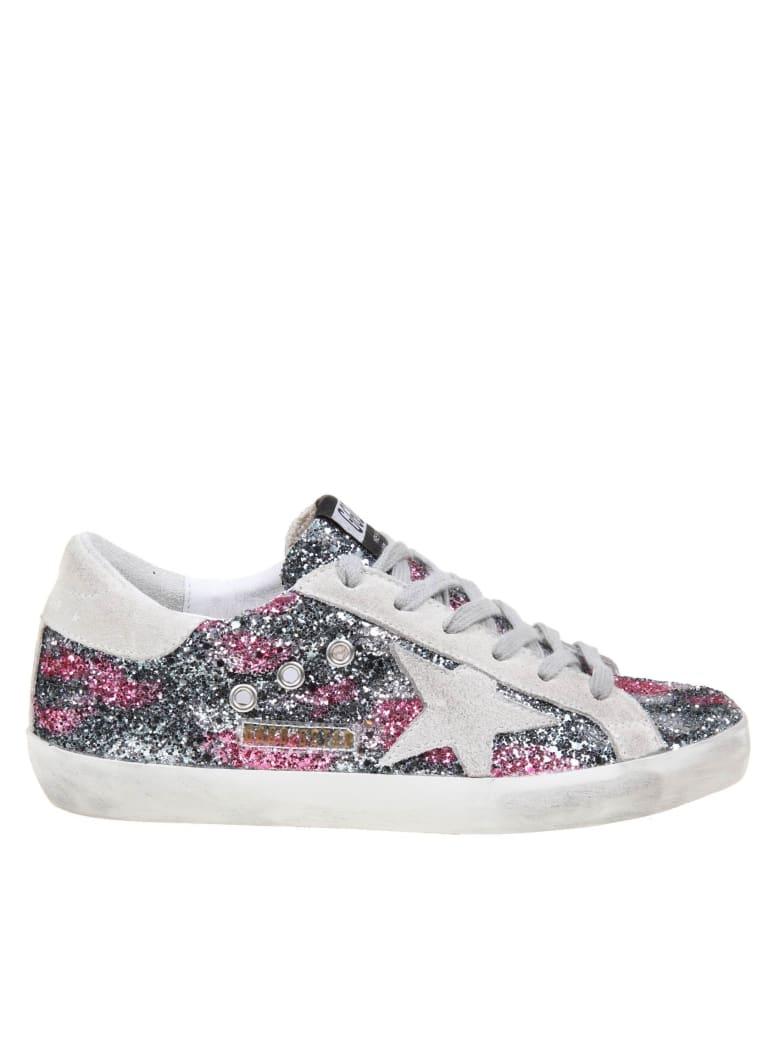 Golden Goose Super Star Sneakers In Glitter Leopard - Black Silver