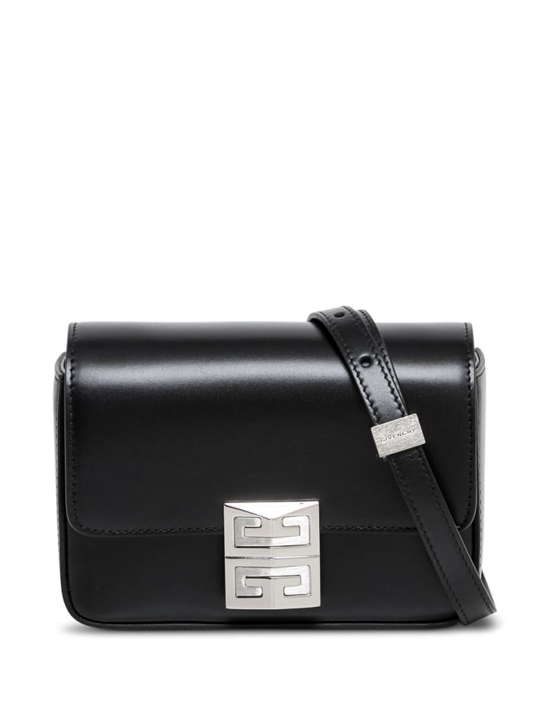Givenchy Black Leather Crossbody Bag With Logo Buckle - Black