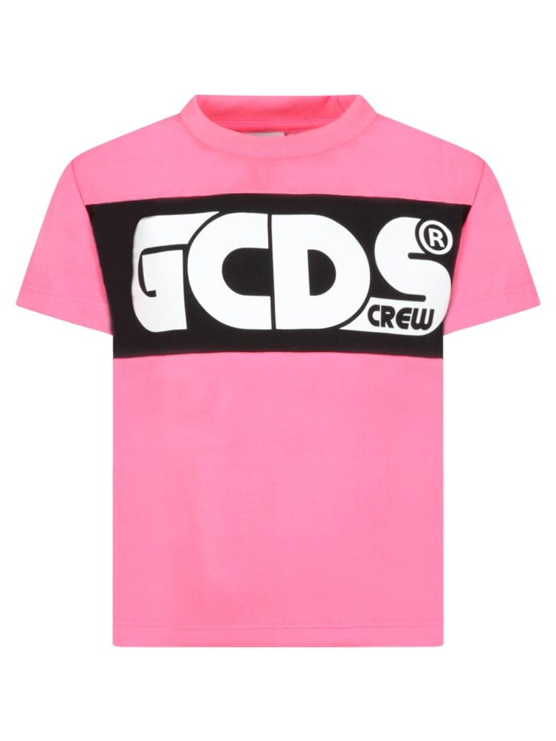 GCDS Neon Fuchsia T-shirt For Girl With Logo - Fucsia
