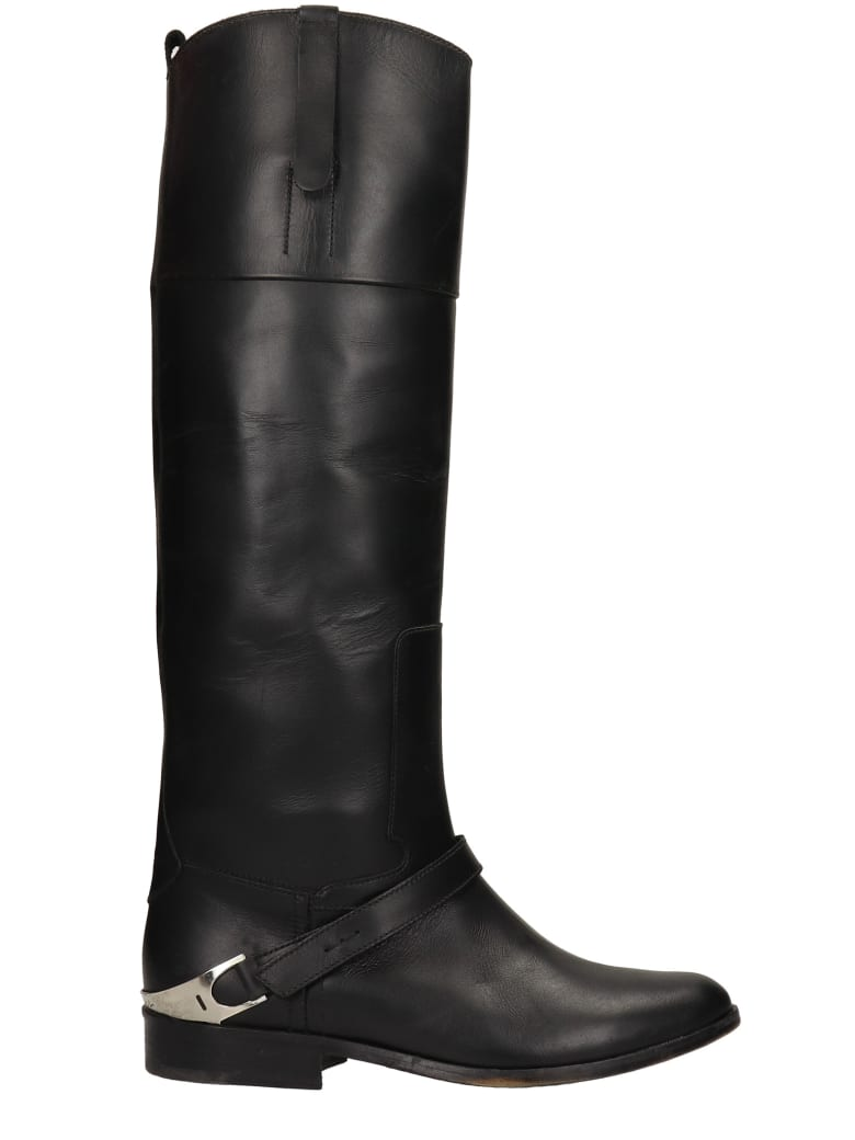 Golden Goose Charlie Texan Boots In Black Leather - black