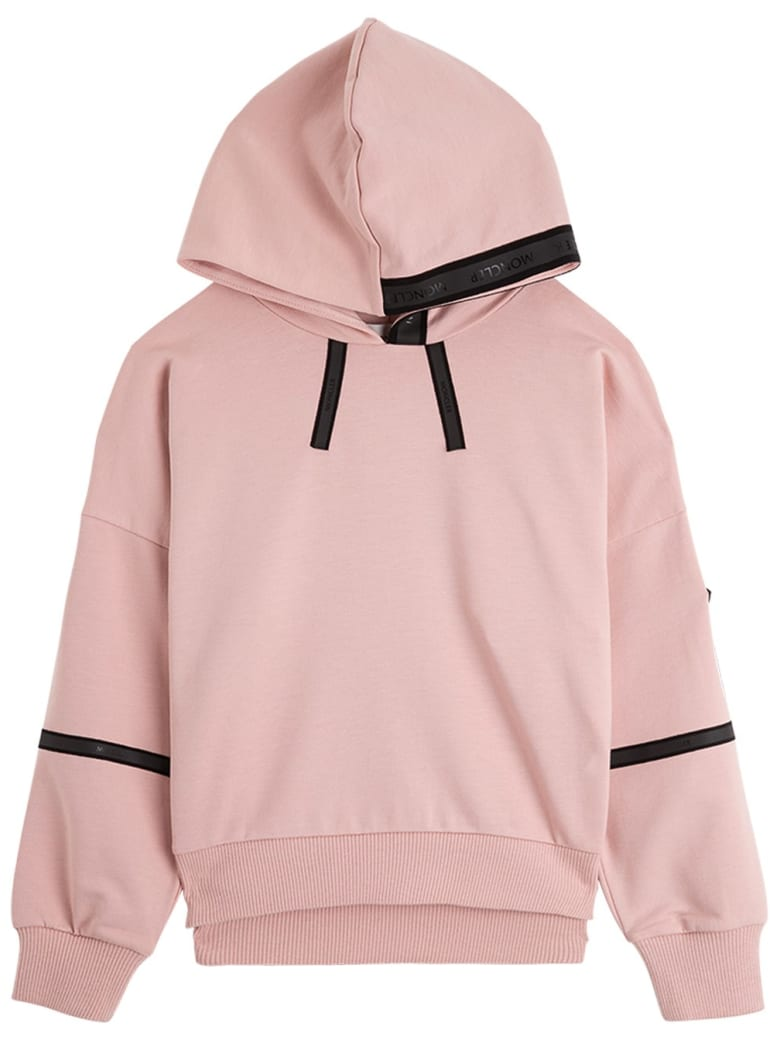 Moncler Pink Cotton Hoodie With Logo - Pink