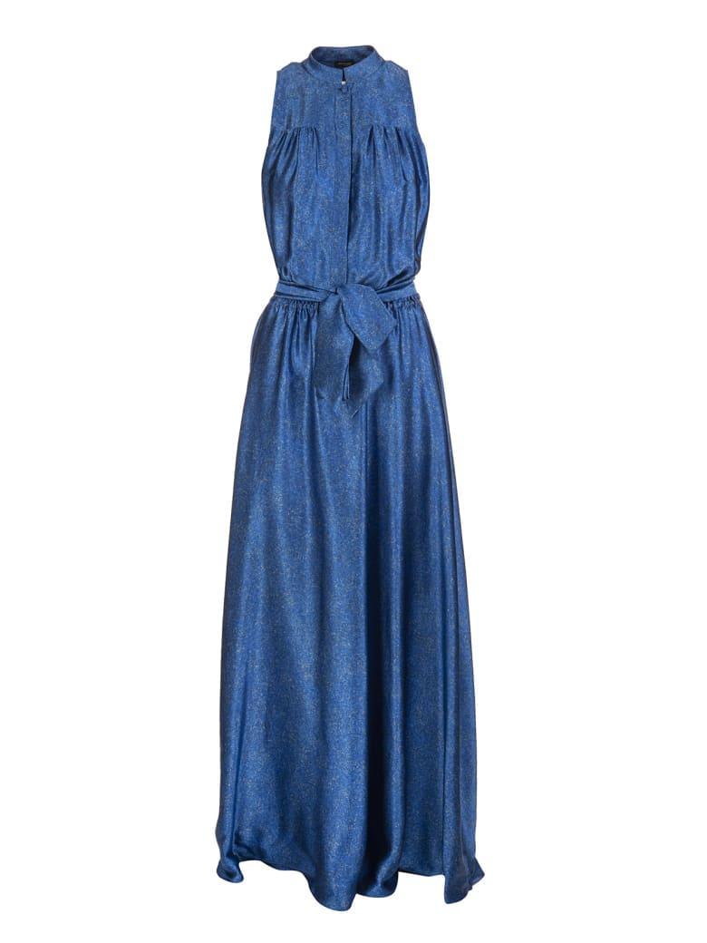 Kiton Fantasia Blue Metallic Belted Silk Gown - Fantasia blue