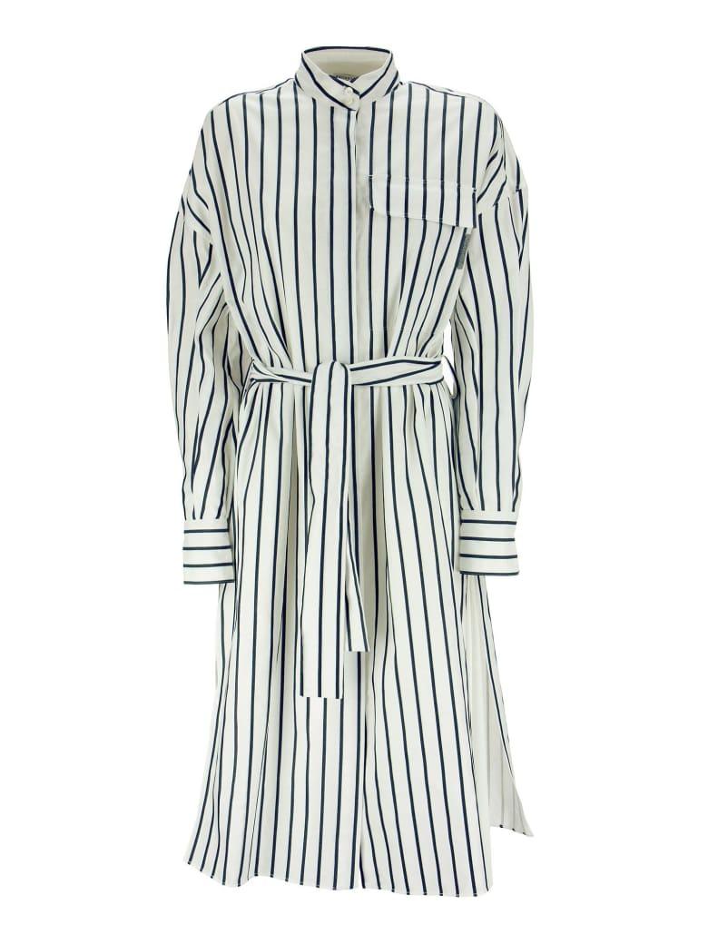 Brunello Cucinelli Cotton Regimental Stripe Poplin Shirt Dress With Belt - White/blue