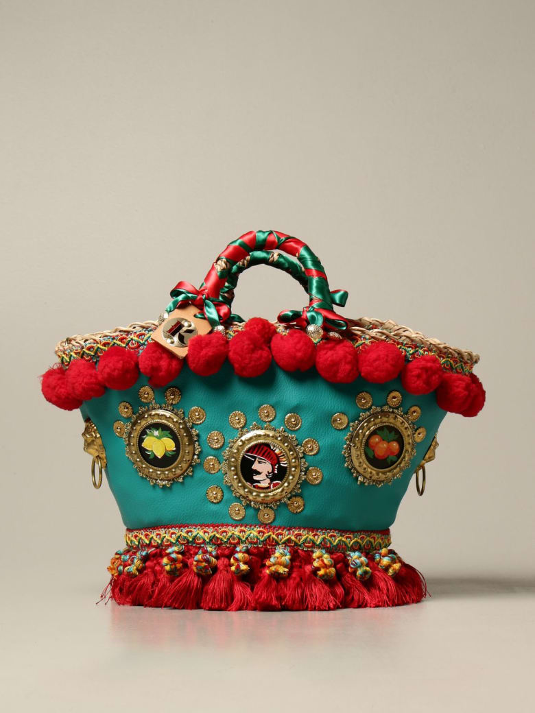 Sikuly Handbag Sicilia Sikuly Leather Coffa Bag With Pompom And Tassels - Multicolor