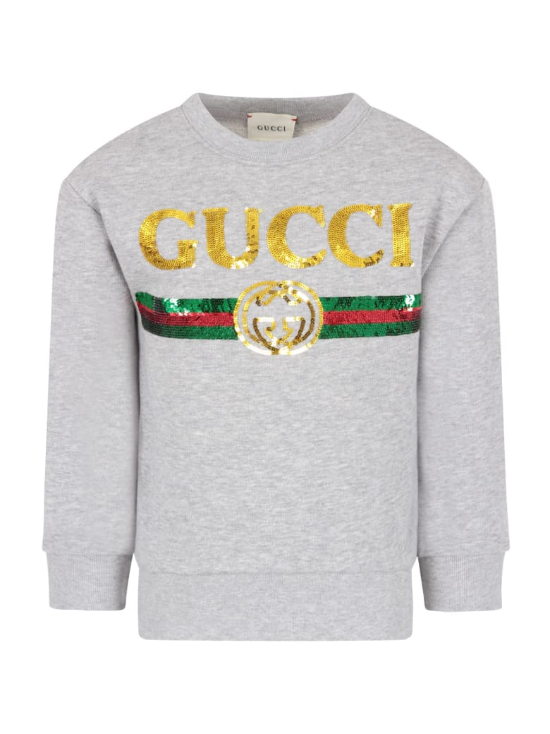 Gucci Melanged Grey Sweatshirt With Sequined Logo For Girl - Grey