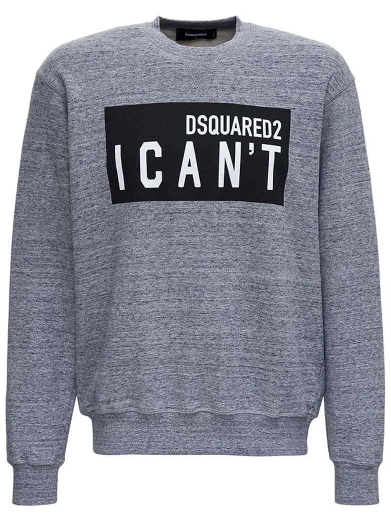"""Dsquared2 Cotton Sweatshirt With """"i Can't"""" Print - Grey"""