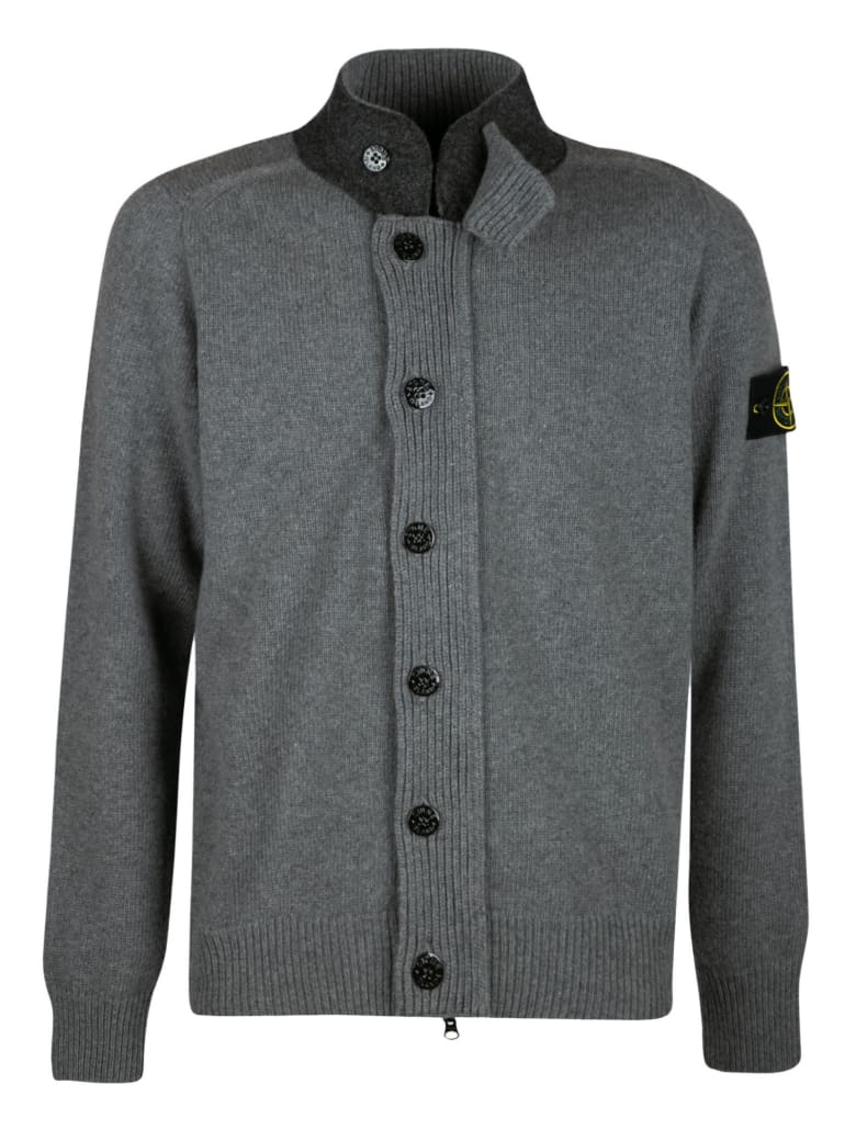 Stone Island High-neck Logo Patched Button Cardigan - Grey