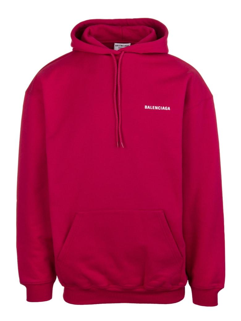 Balenciaga Unisex Red Balenciaga Wide Line Hoodie - Raspberry/white