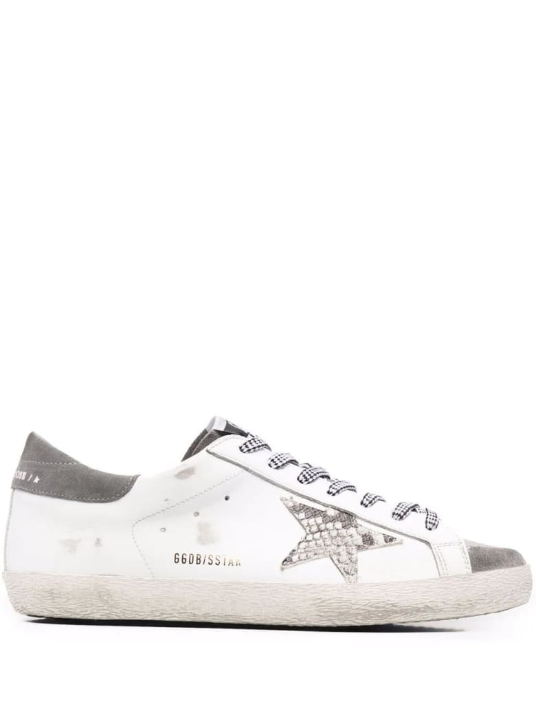 Golden Goose Man White And Grey Super-star Sneakers With Python Printed Star
