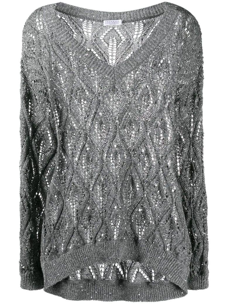 Brunello Cucinelli Dazzling Lace-effect Sweater - Grigio