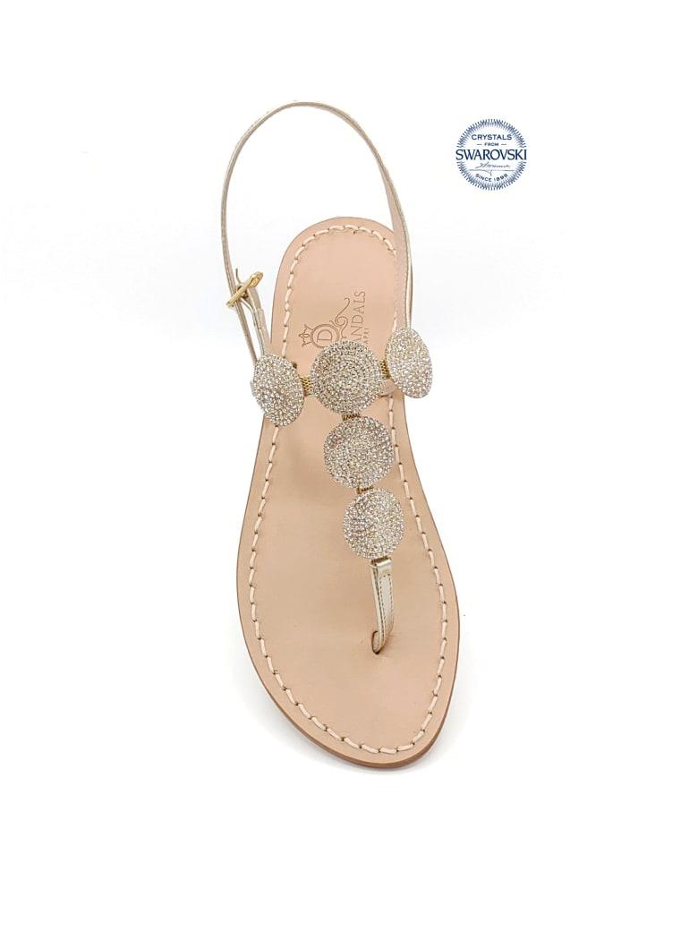 Dea Sandals Fari Di Capri 5c Jewel Thong Sandals - gold, natural crystal