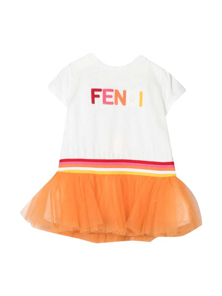Fendi White Dress With Multicolor Logo - Gesso