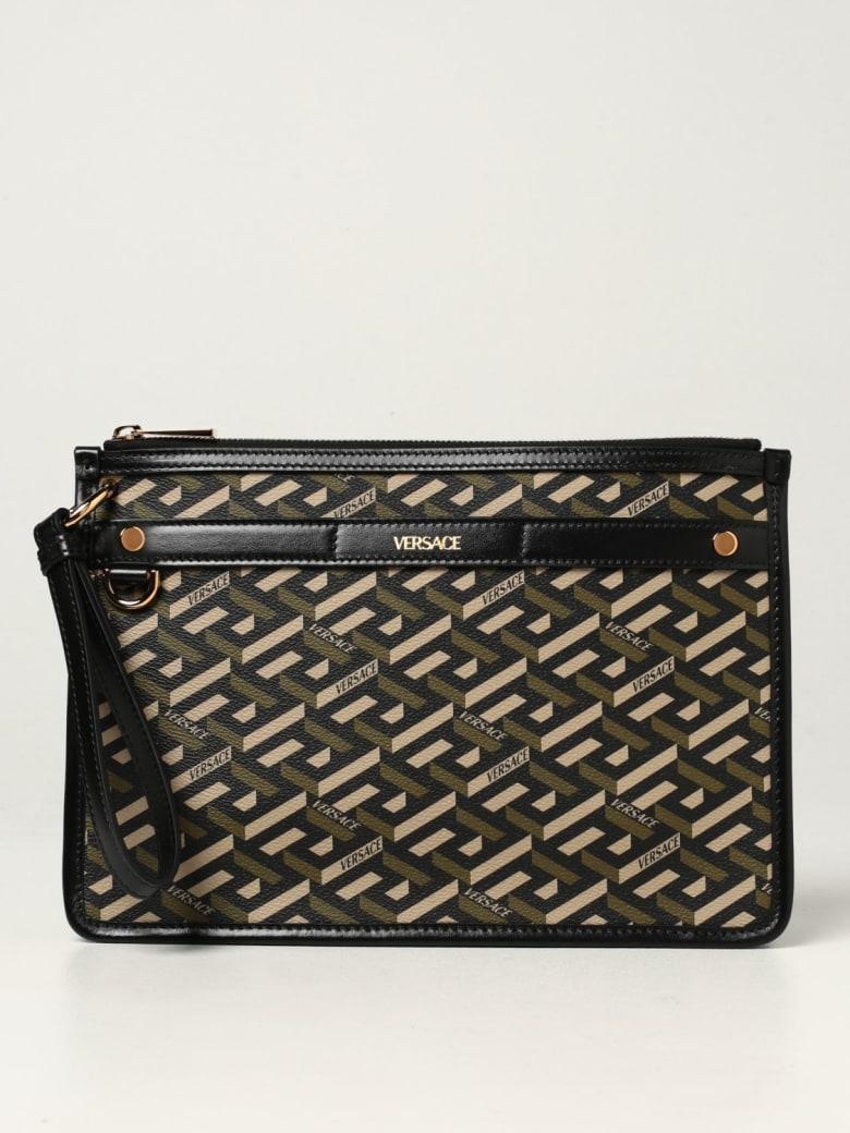 Versace Briefcase La Greca Signature Versace Canvas Bag - Black