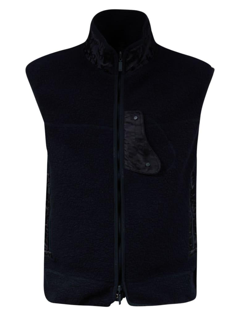 Christian Dior High Neck Zipped Gilet - Blue