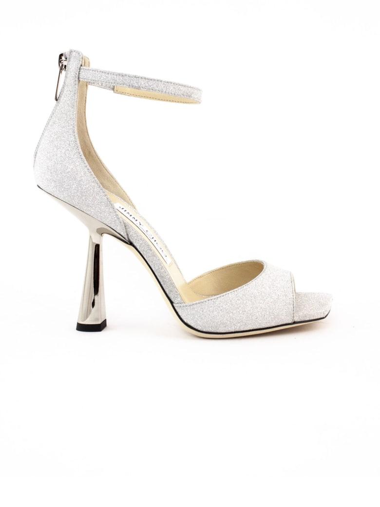 Jimmy Choo Silver Glitter Fabric Reon Sandals - Silver