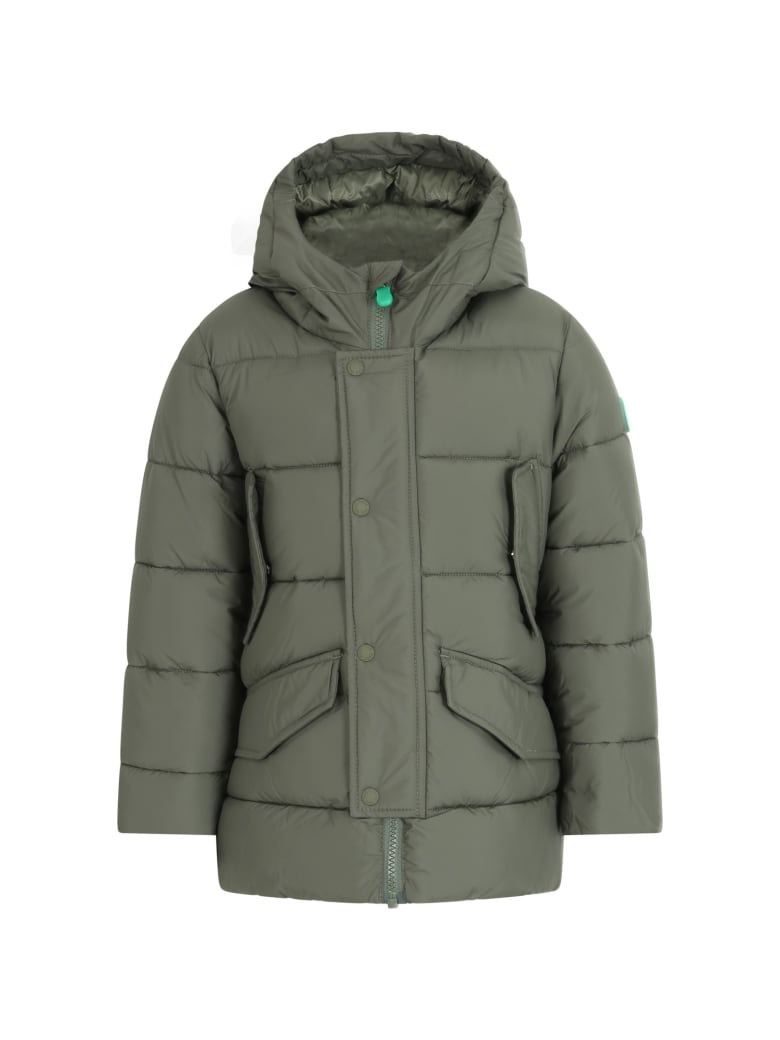 Save the Duck Green Jacket For Boy With Iconic Patch - Green