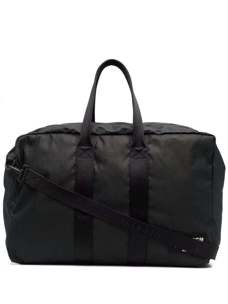 Alexander McQueen Man Black Mcqueen Graffiti Travel Bag - Black/black off white