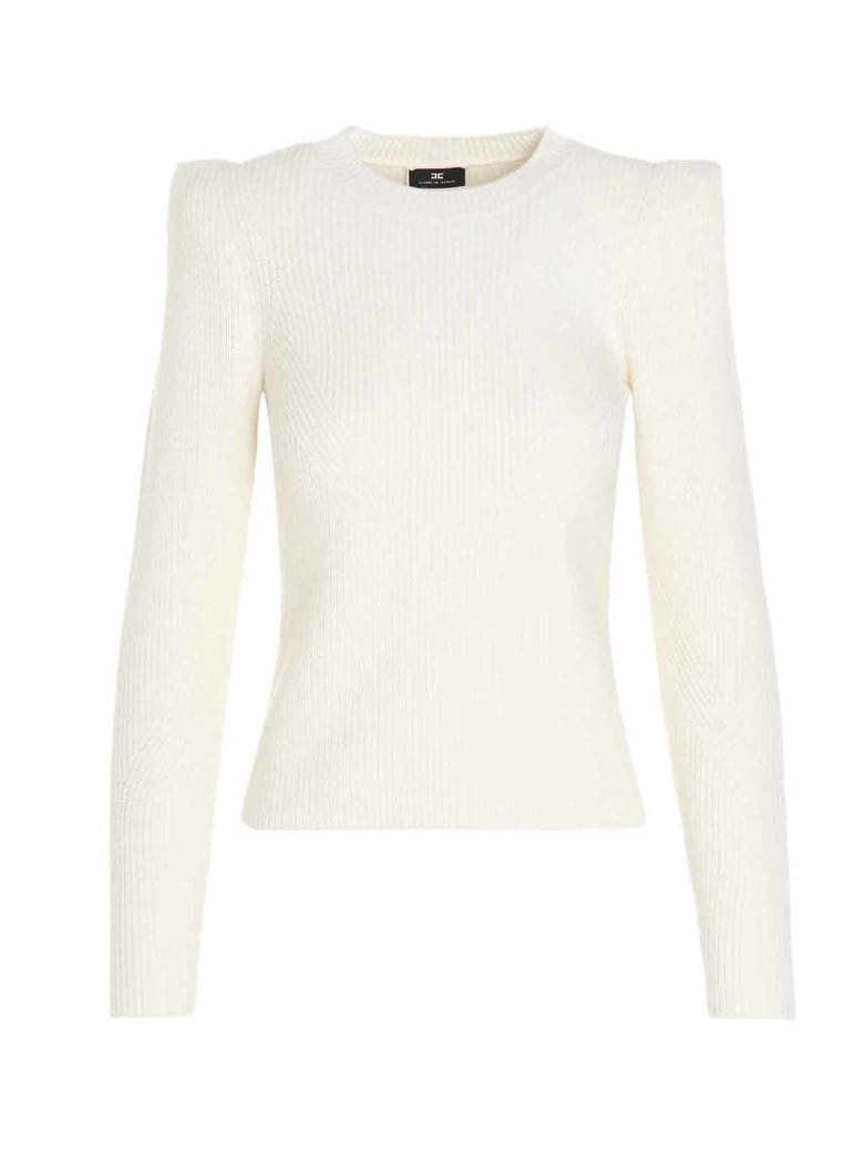 Elisabetta Franchi Ribbed Sweater - White