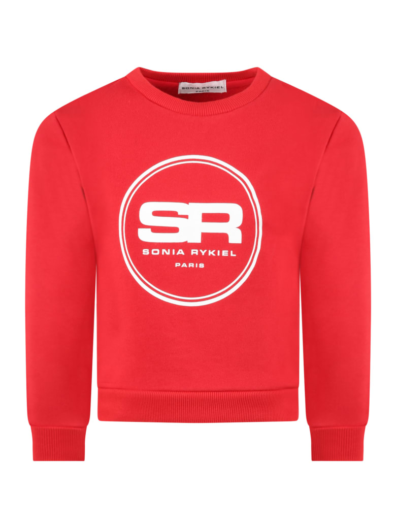 Sonia Rykiel Red Sweatshirt For Girl With Logos - Red