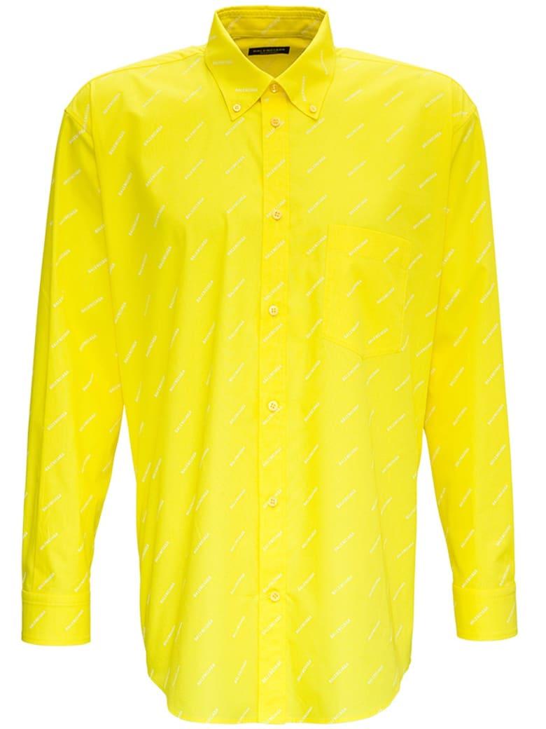 Balenciaga Yellow Cotton Shirt With Allover Logo Print - Yellow