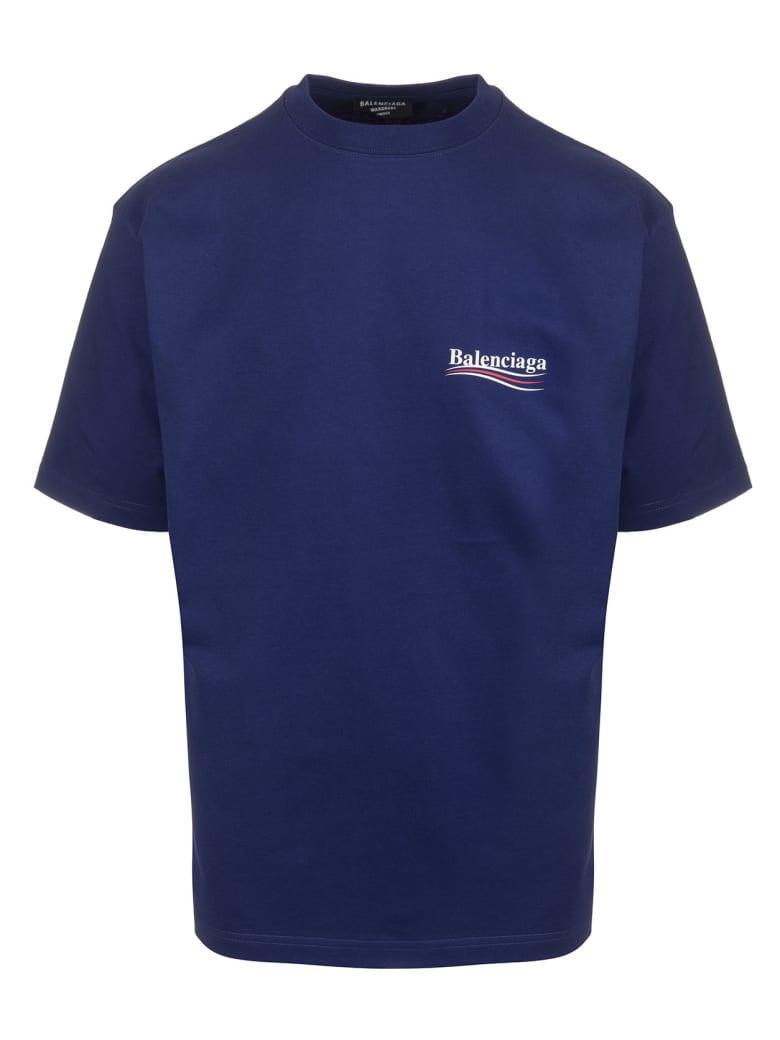 """Balenciaga Unisex Blue """"political Campaign"""" T-shirt - Pacific blue/white"""