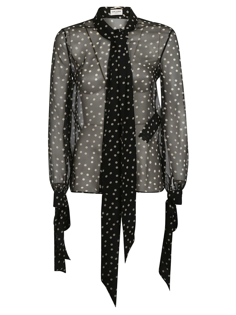 Saint Laurent Dotted Print Scarf & Bow Detail See-through Blouse - Black/Beige