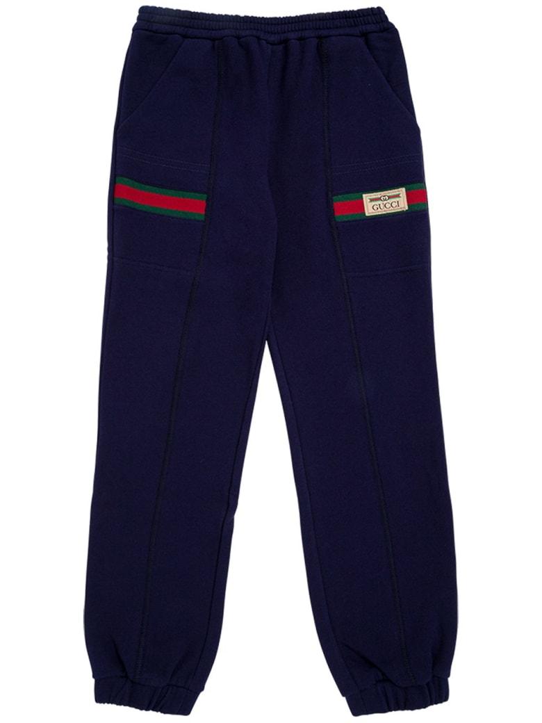 Gucci Blue Cotton Jogger With Web Details - Blu