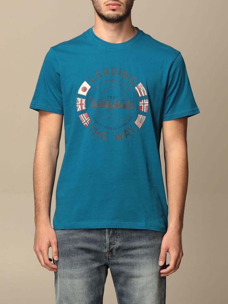Napapijri T-shirt Napapijri Cotton T-shirt With Logo - Gnawed Blue
