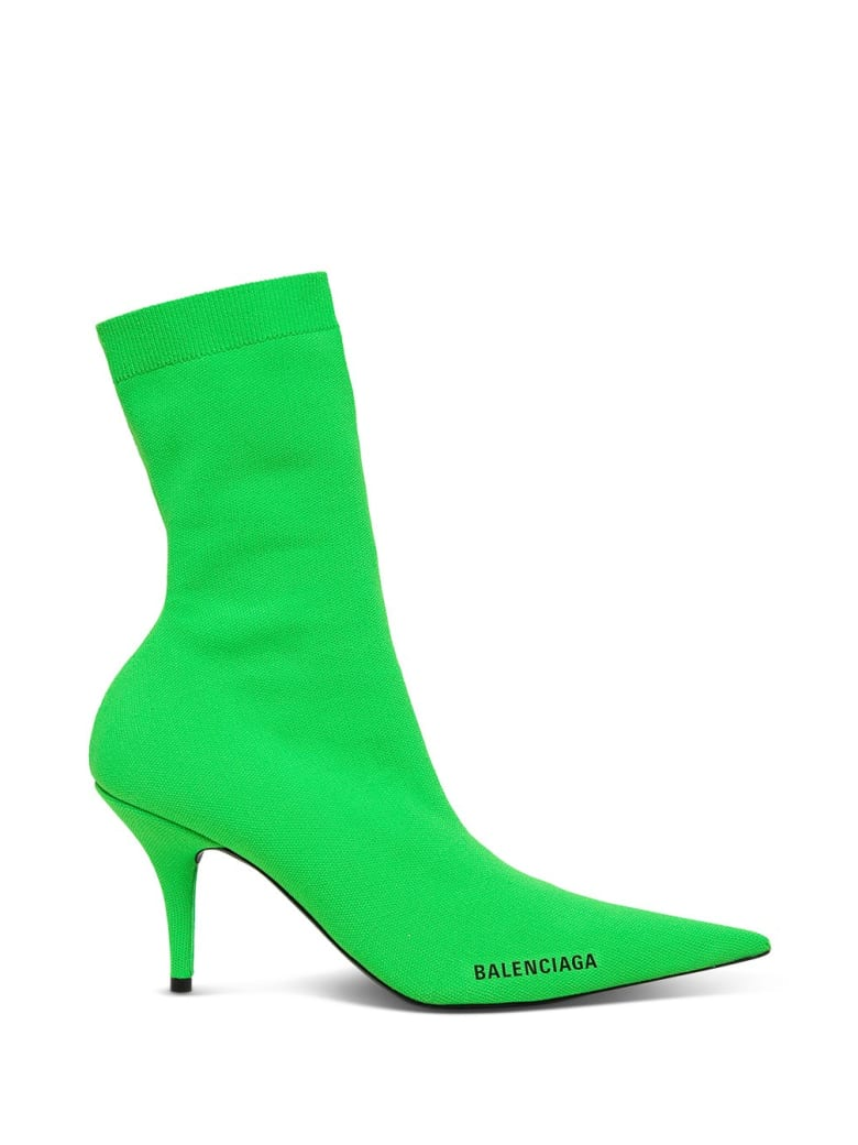 Balenciaga Knife Ankle Boots With Logo - Green