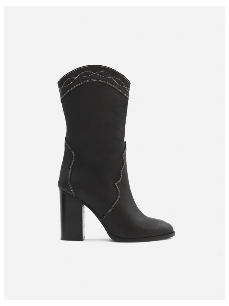 Marc Ellis Laredo Boots In Leather With Contrasting Stitching - Black