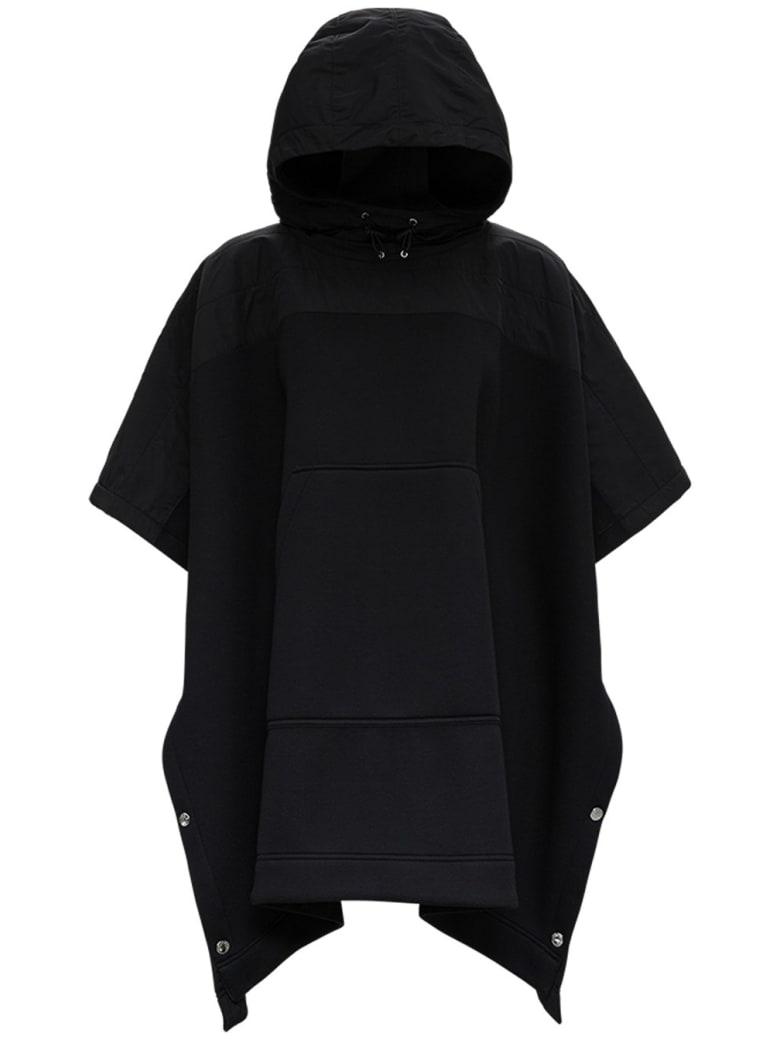 Moncler Hooded Cape In Black Modal - Black
