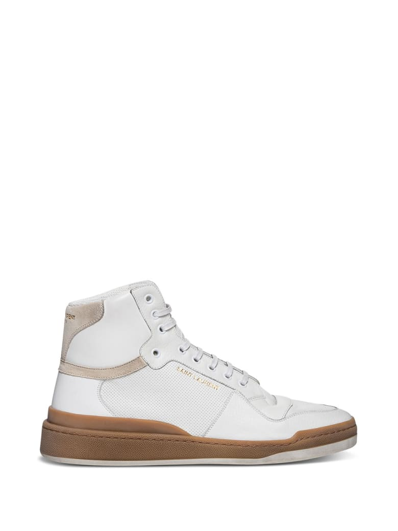 Saint Laurent Sl24 Mid-top Sneakers In Leather And Suede - White