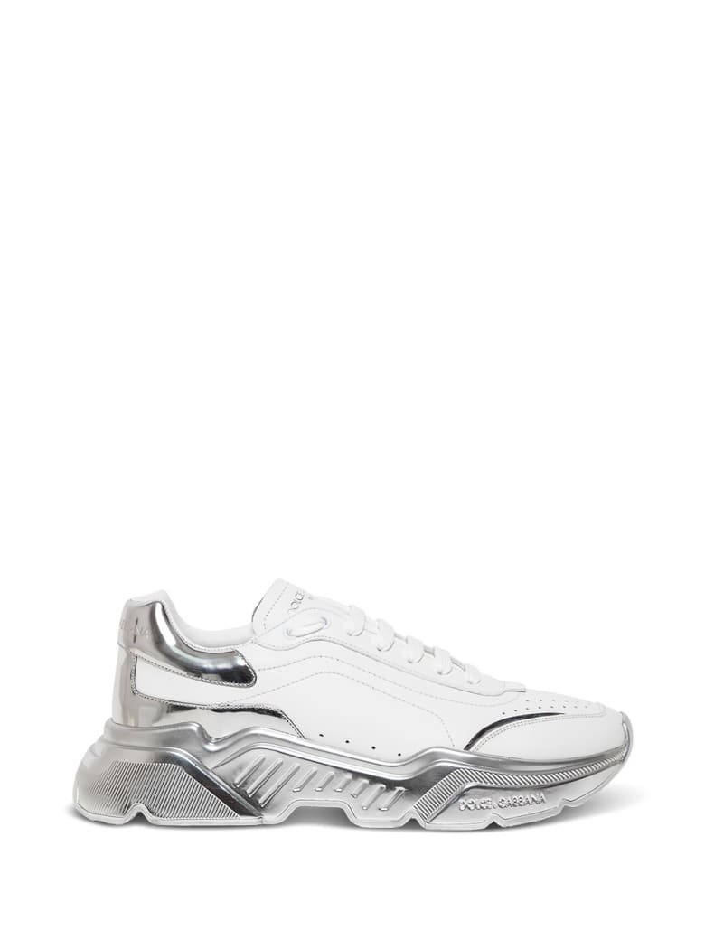 Dolce & Gabbana Leather Sneakers With Laminated Sole - White