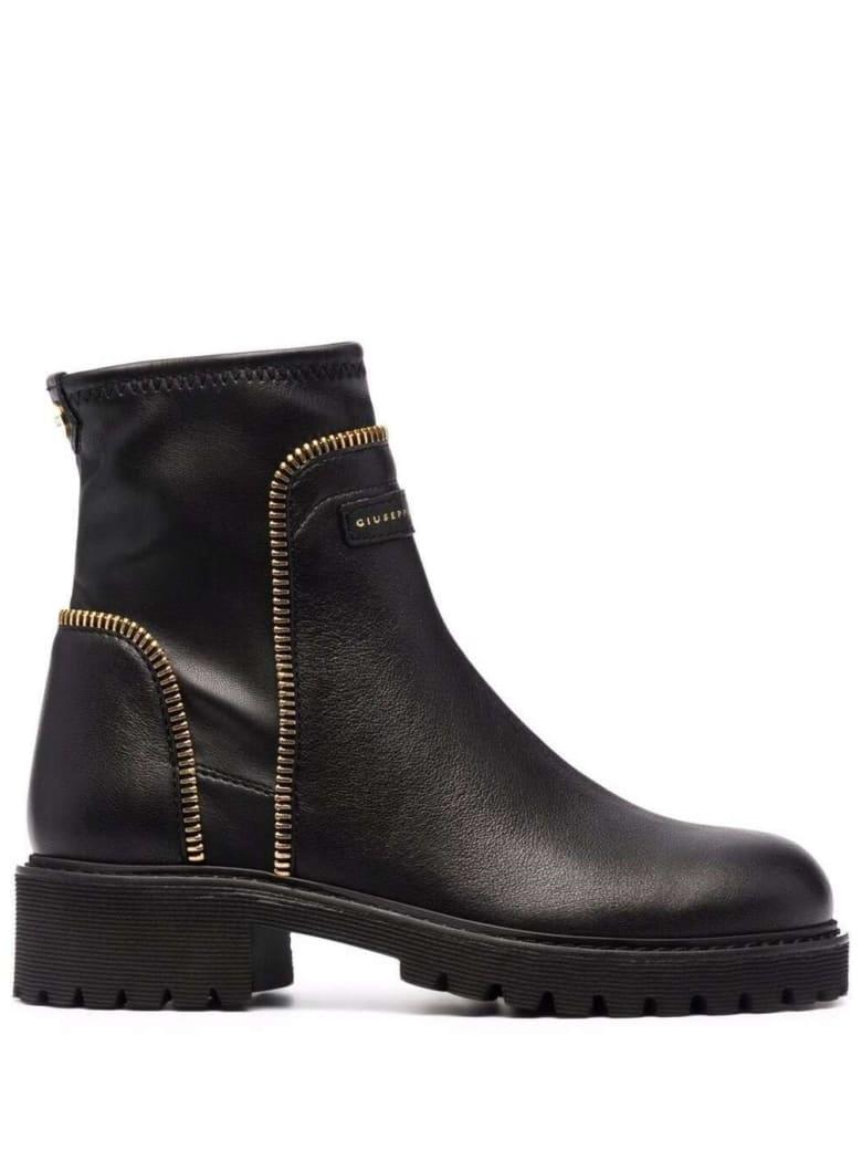 Giuseppe Zanotti Black Leather Ankle Boots With Logo - Black