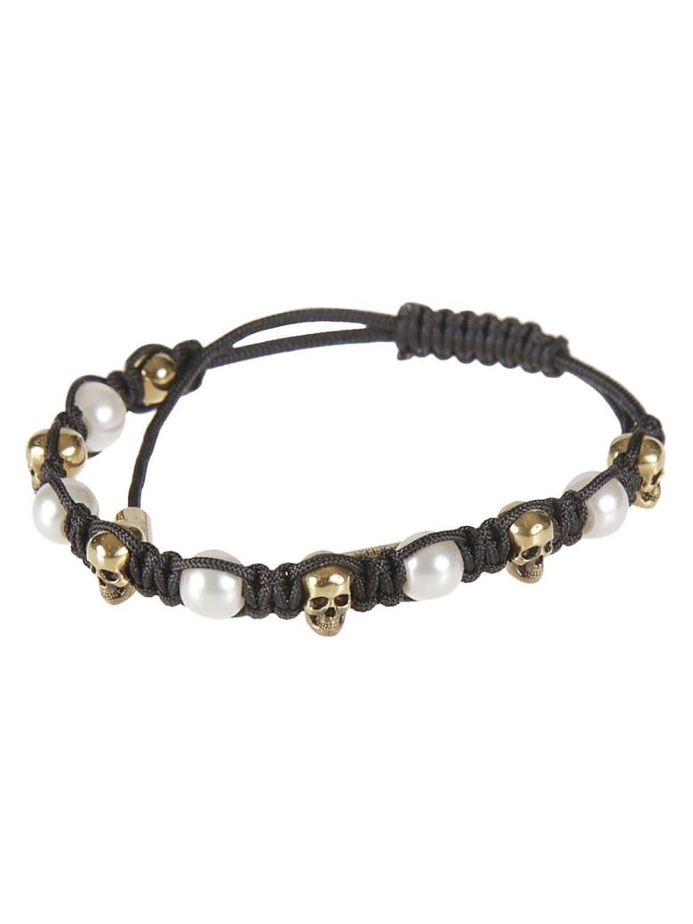 Alexander McQueen Friendship Skull & Pearl Bracelet - Black