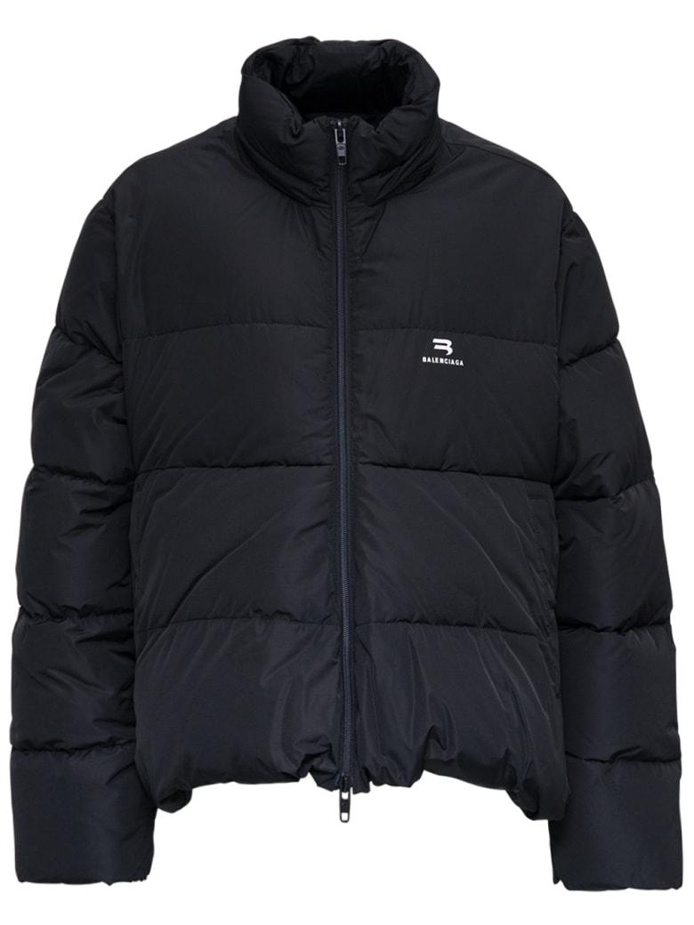 Balenciaga Black Nylon Down Jacket With Logo - Black