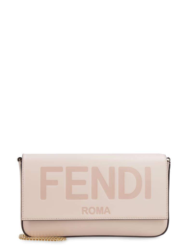 Fendi Leather Wallet On Chain - Pink
