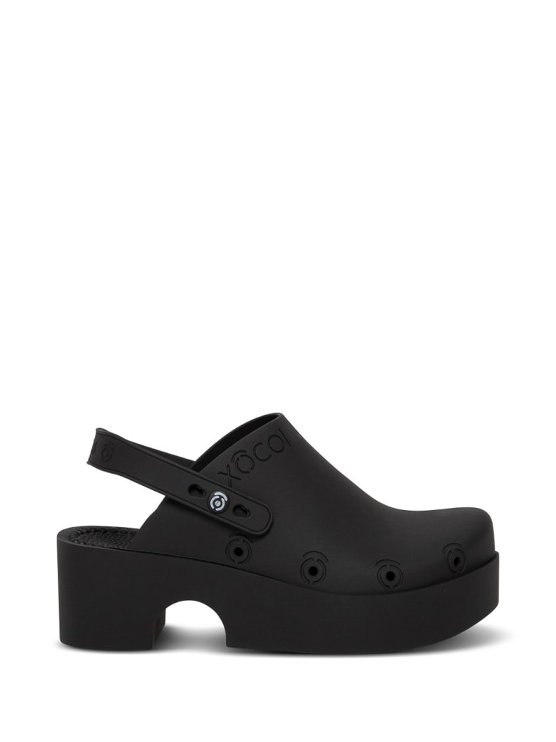 Xocoi Black Recycled Rubber Clogs With Logo - Black