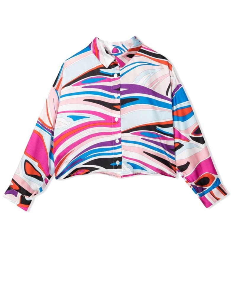 Emilio Pucci Patterned Girl Shirt - Fuxia-celeste