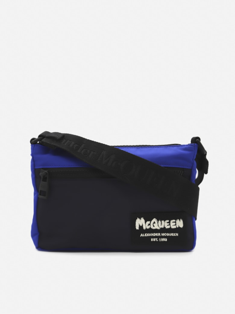 Alexander McQueen Nylon Shoulder Bag With Graffiti Logo Detail - Blue, black