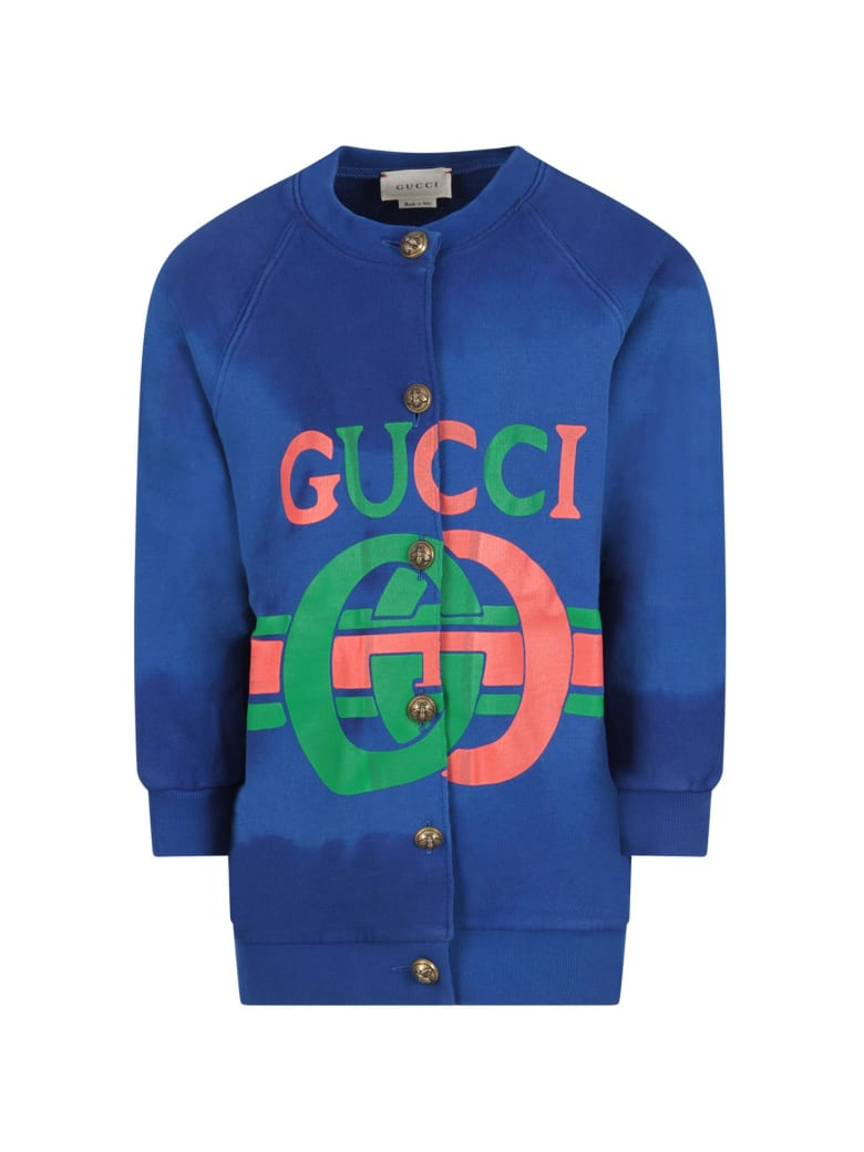 Gucci Blue Sweatshirt For Girl With Red And Green Logo - Blue