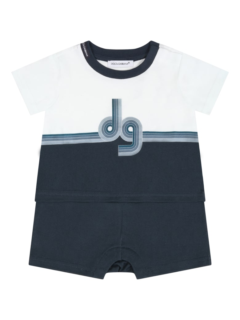 Dolce & Gabbana Multicolor Romper For Babyboy With Logo - Blue