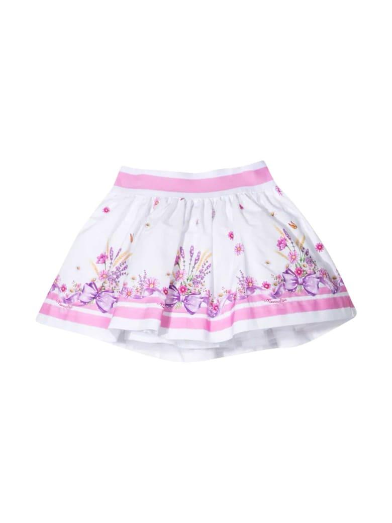 Monnalisa Pleated Skirt - Bianco e Rosa