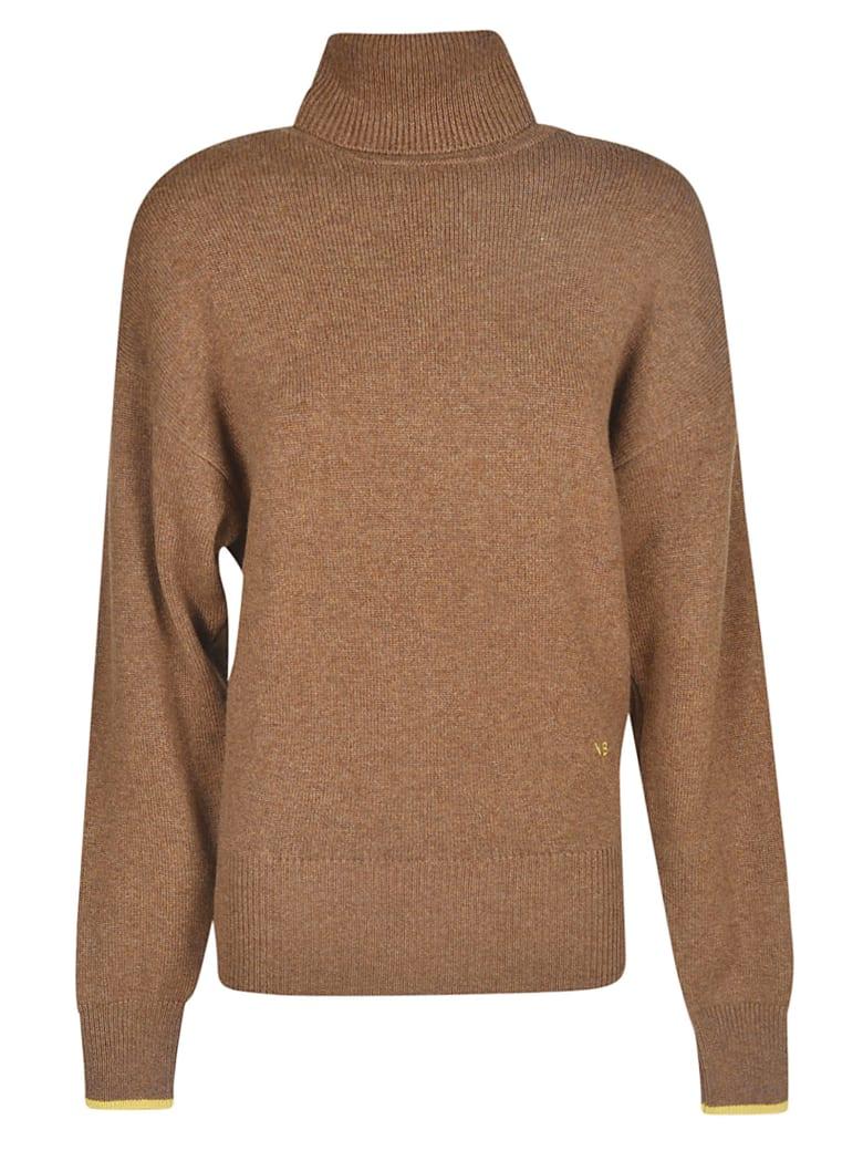 Victoria Beckham Embroidered Turtleneck Sweater - Brown/Yellow